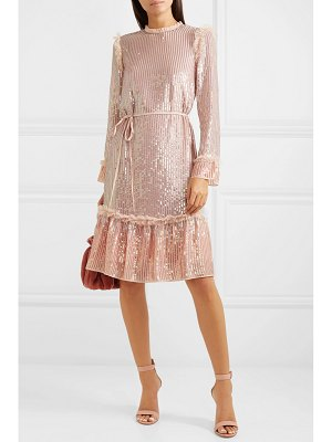 Needle & Thread tulle-trimmed sequined chiffon dress