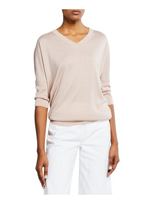 Neiman Marcus Cashmere Collection Cashmere-Blend V-Neck 3/4-Sleeve Slim-Fit Top