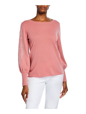 Neiman Marcus Cashmere Collection Cashmere Embellished Blouson-Sleeve Boat-Neck Sweater