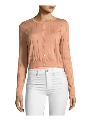 Neiman Marcus Cashmere Collection Cashmere Vertical Stitch Crewneck Cardigan