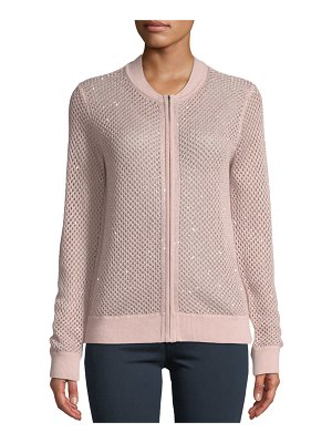 Neiman Marcus Cashmere Collection Cashmere Zip-Front Sequin Open-Weave Bomber Cardigan