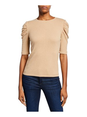 Neiman Marcus Cashmere Collection Crewneck Ruched Elbow-Sleeve Cashmere Sweater