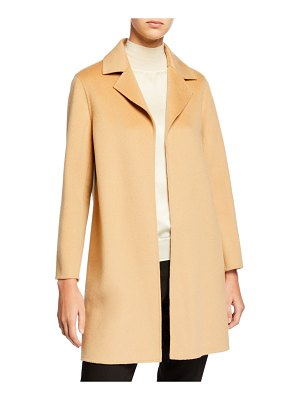 Neiman Marcus Cashmere Collection Double Face Cashmere Wrap Coat w/ Notch Collar