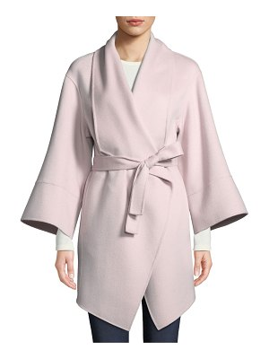 Neiman Marcus Cashmere Collection Luxury Double-Faced Cashmere Wrap Coat