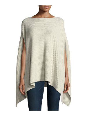 NEIMAN MARCUS CASHMERE COLLECTION Shaker-Stitched Metallic Cashmere-Blend Poncho Sweater