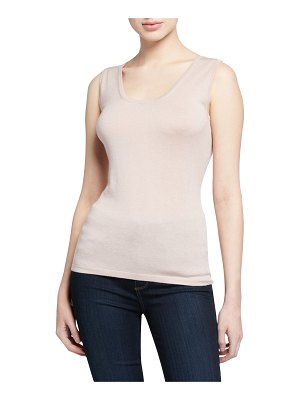 Neiman Marcus Cashmere Collection Superfine Cashmere-Blend Scoop-Neck Tank