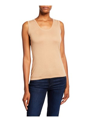 Neiman Marcus Cashmere Collection Superfine Cashmere Scoop-Neck Tank