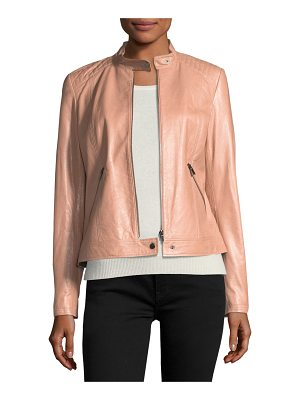Neiman Marcus Leather Collection Leather Moto Jacket w/ Quilted Shoulders