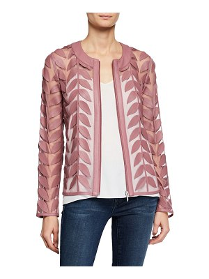 Neiman Marcus Leather Leaf & Mesh Combo Jacket
