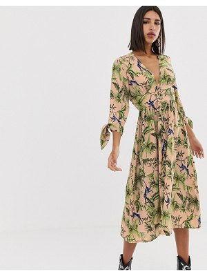Neon Rose maxi tea dress with button front in jungle print-pink