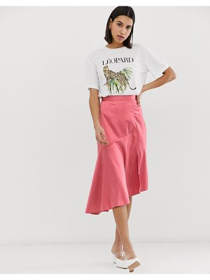 Neon Rose midi asymetric skirt in satin