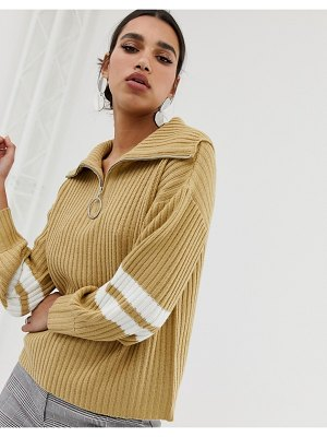 Neon Rose relaxed sweater with half zip and stripe sleeves