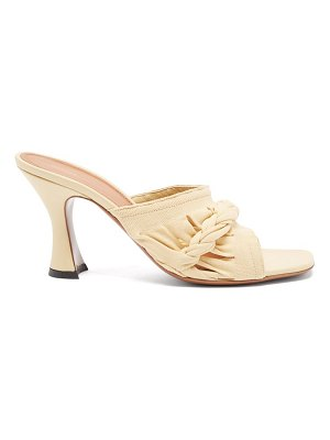 Neous sham braided knit and leather mules