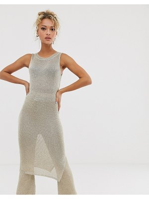 Never Fully Dressed metallic knitted tunic midi dress two-piece in light gold