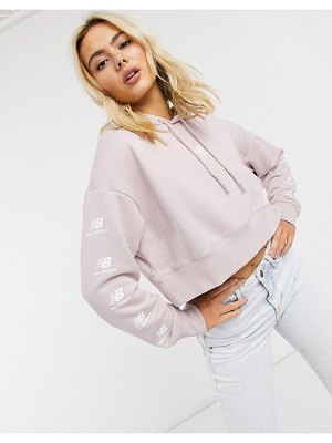 New Balance stacked logo cropped hoodie in pink