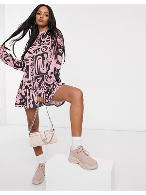 New Girl Order high neck smock dress in all over arty print-pink