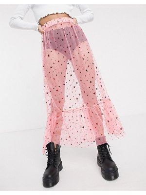 New Girl Order midi skirt in star print mesh with ruffle hem-pink