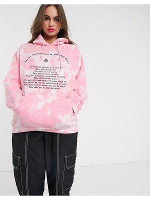 New Girl Order oversized hoodie in tie dye with 10 commandments graphic-pink
