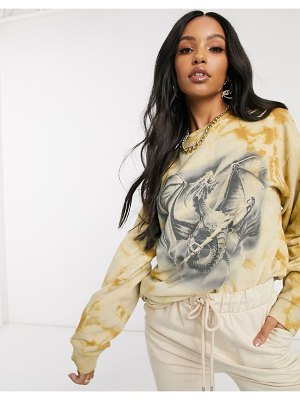 New Girl Order oversized sweatshirt in washed tie-dye with mystical print-beige
