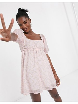 New Girl Order x hello kitty mini smock dress with puff sleeves in all over print-pink