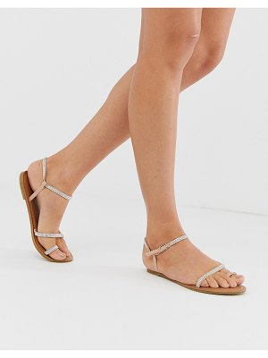 New Look asymmetric rhinestone sandal in tan