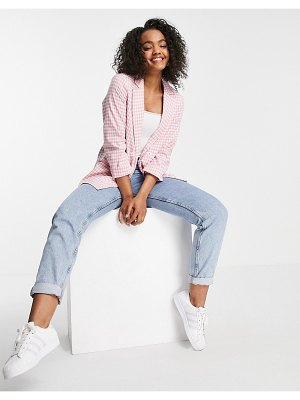 New Look blazer in pink gingham