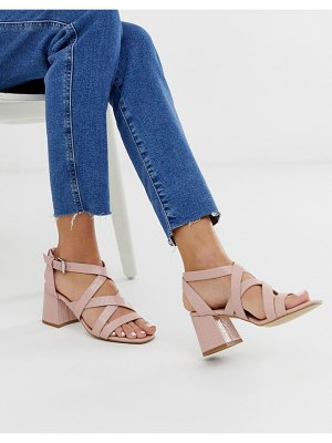 New Look block heel sandal in pink croc effect