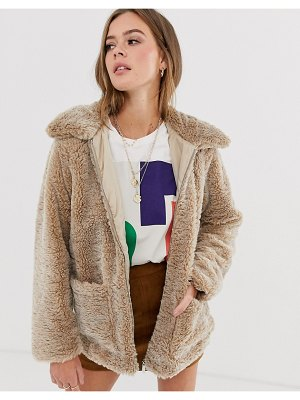 New Look borg coat in camel-stone