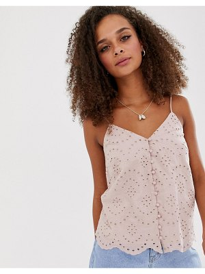 New Look broderie scallop detail cami in light pink
