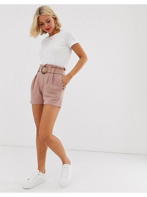 New Look buckle detail short in dusty rose