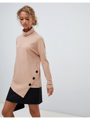 New Look button detail roll neck sweater