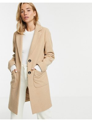 New Look button front coat in beige