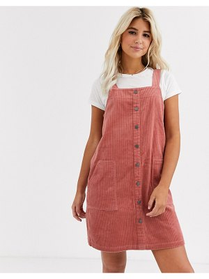 New Look cord button through pinny dress in pink