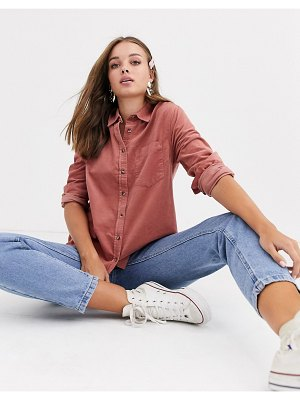 New Look cord shirt in pink-tan