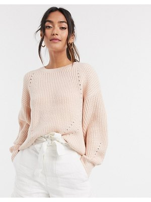 New Look dropped shoulder rib sweater in mid pink