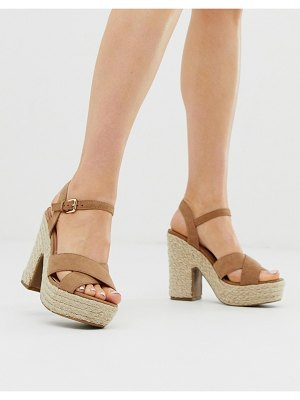 New Look espadrille heeled sandal in tan