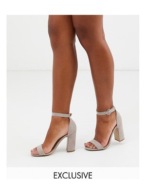New Look faux suede block heeled sandals in light gray-stone