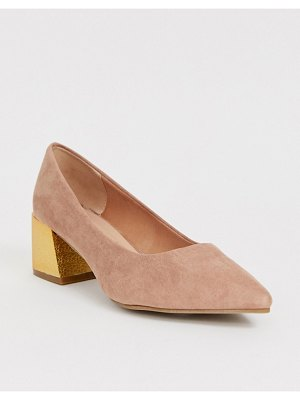 New Look faux suede heeled shoes in pink