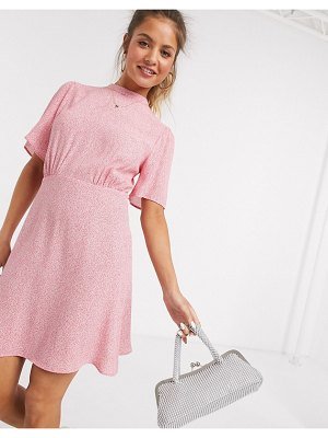 New Look flutter sleeve mini dress in pink floral print