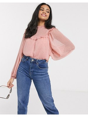 New Look frill detail polka dot blouse in pink pattern