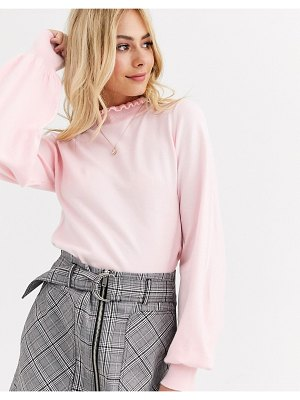 New Look frill neck volume sleeve sweater in pastel pink