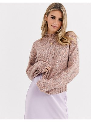 New Look high neck crop sweater in dusty pink