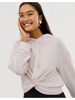 New Look hoodie with twist front in pink