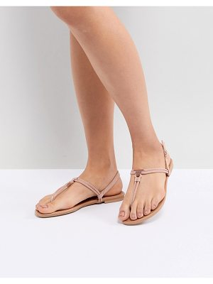 NEW LOOK Leather Look Toe Post Metal Detail Flat Sandal