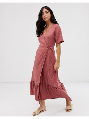 New Look linen tiered wrap dress in dusty rose