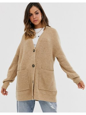 New Look long line button front cardigan in camel