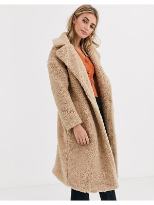 New Look maxi borg teddy coat in oatmeal-tan
