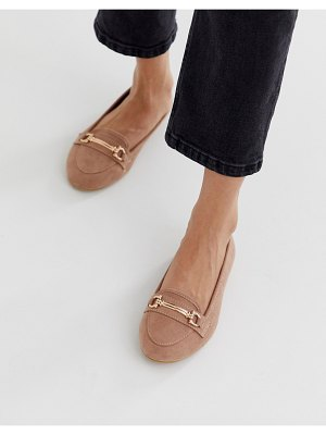 New Look metal detail loafer in light pink