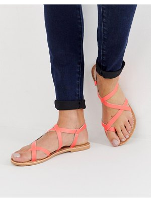 New Look neon multistrap sandal in coral