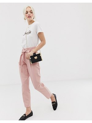 New Look pants with tie waist in pink